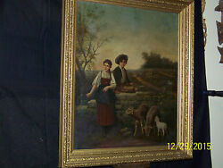 American C1800and039s Original Oil On Canvas Portrait Of Children And Prize Sheep