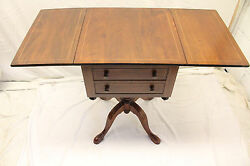 Lovely English Queen Anne Mahogany Inlaid Drop Leaf Sofa Bedside Table, 19th C.