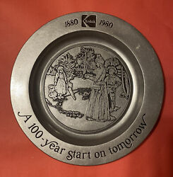 Vtg Wall Plate With Tag KODAK Rochester NY 1880 1980 Photographer Pewter