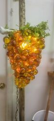 Vintage Lucite Yelliw/gold Lucite Graoe Lamp Huge 17 In
