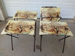 Vintage Quaker Industries Fiberglass 4 Tv Trays 3 Stand And 1 Service Cart
