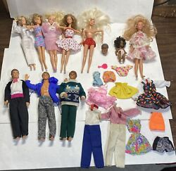 Lot Of 10 Vintage Loose Barbie And Ken Dolls W/ Outfits - Most Dated 1966 Read