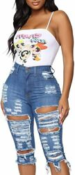 Jtnfairy Womenand039s Ripped Denim Shorts Mid Rise Frayed Skinny Casual Summer Jeans