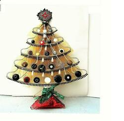 Victorian Button+ Christmas Tree Table Top 150+ Vintage Buttons Metal Frame Ooak