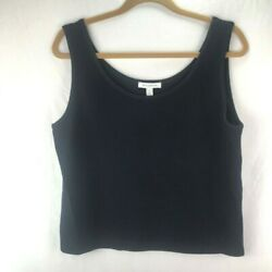 St. John Womens Cropped Sweater Vest Black Scoop Neck Tight Knit Pullover L