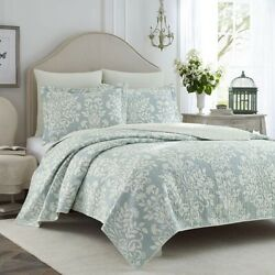 Queen Quilt Set Bedding Farmhouse Blue Country Floral Beachy Light Weight 3pc