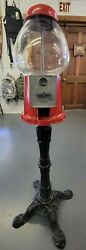"""King Carousel Gumball 14.5"""" Candy Vending Machine On Stand Vintage Clean Works"""