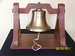 Vintage Brass Nautical Ships/harbor Large Bell W/custom Made Wood Stand