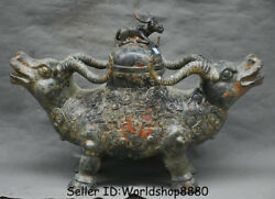 24 Antique Old China Bronze Ware Dynasty Double Bull Oxen Zun Incense Burner