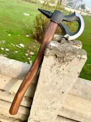 Homemade Family Hand Forge In Fire Damascus Steel Hunting Axe For Sale