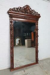 Beautiful Large Carved Oak Antique French Hunting Mirror - Bae10