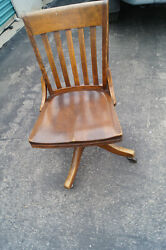 Antique Wood Swivel Desk Chair Office Chair Vintage Chair Solid Wood
