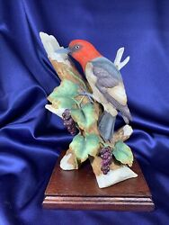 Vintage Woodpecker By Andrea Of Sadek Bisque Bird Figurine, 8752 With Wood Base