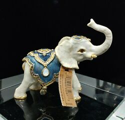 Nwt Jay Strongwater White Baby Elephant With Tapestry Figurine Excellent Mint