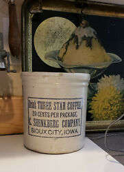 Red Wing Stoneware Advertising Crock. Three Star Coffee. Sioux City Iowa. Mint.