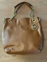 Buttery Soft Brown Leather 2 Ways Chain Straps Shoulder Bag Purse