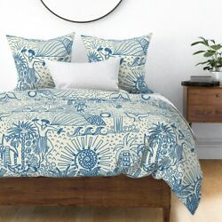 Blue Nature Hawaii Toile Whale Hula Dancer Sateen Duvet Cover By Spoonflower