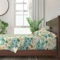 Lake Time Reading Flowers Leaves 100 Cotton Sateen Sheet Set By Spoonflower