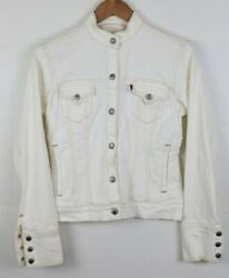 Vintage Leviand039s Jean Button Up Denim Jacket Cream White Womenand039s Small