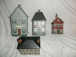 Vintage 3 Country Cottage Wood House Shaped Kitchen Canister Set And Recipe Box Ec