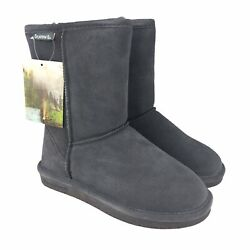 Bearpaw Womens Emma Short 608w Suede Round Toe Charcoal Winter Boots Size 6 Nwt