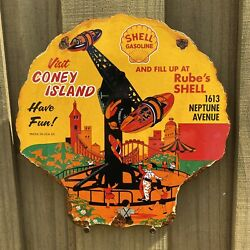 """Vintage 1953 Shell Coney Island Porcelain Gas Oil Sign 12"""" Rube's Neptune Ave"""