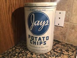 Vtg 1960's Jays Potato Chip Tin Can Jays Special Foods Co Chicago Il Antique