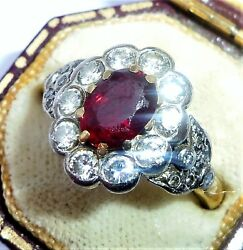 Large Art Deco Style 18ct Gold Pigeon Blood Ruby And Diamond Ring, Size M 1/2