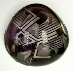 David Schwarz Signed Art Glass Sculpture Geometric V-axis Collectible 12-18-1987