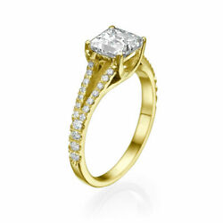 Solitaire 18k Yellow Gold Princess Cut Diamond Engagement Ring 1.50 Ct F/si1