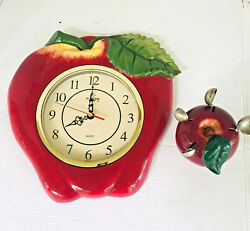 Vintage Red Apple Glazed Ceramic Kitchen Wall Clock And Measuring Spoon Holder