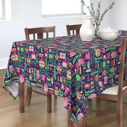 Tablecloth Stars Christmas Presents Holly Colorful Ornament Xmas Cotton Sateen