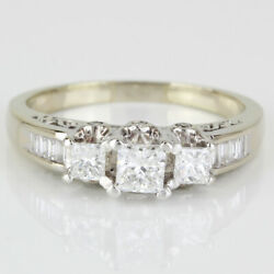 14k White Gold Princess And Baguette Engagement Ring