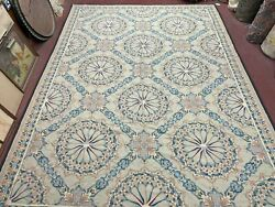 Large Aubusson Needlepoint Carpet 10x14 Ft European French Light Colors New Rug