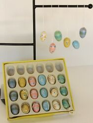 Box Of 24 Vintage Miniature Wooden Hand Painted Easter Egg Ornament Decorations