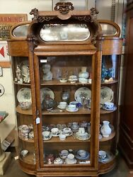Antique Oak Carved Curved Glass Display Cabinet 79 3/8andrdquo Tall