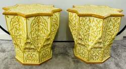 Vintage Moroccan Yellow And White Side Or End Table In Star Shape, A Pair