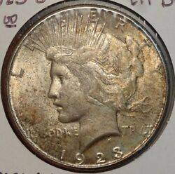 1923-s Peace Dollar, Choice Uncirculated, Very Original Better Date Coin 0626-16