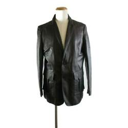 Louis Vuitton Men's Calfskin Jacket Outer Lamb Leather Used Mens Size 54