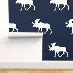 Peel-and-stick Removable Wallpaper Moose Little Arrow Designs Baby Navy Woodland