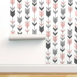 Peel-and-stick Removable Wallpaper Pink + Arrow Fletching Tribal Woodland Trendy