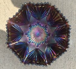 Imperial Electric Amethyst Carnival Glass Shell And Sand Bowl. Wow. Mint
