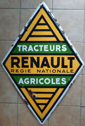 Antique Plate Enamelled Double Face Renault Tractor Agricultural Automobile Eas