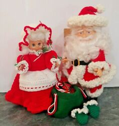 Vintage Santa Claus And Mrs.claus Dolls Crochet Outfit 14 Craft Christmas Xmas