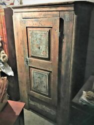 Antique Wooden 1792 Armoire Bauern Shrank Closet Wardrobe Hand Painted Germany