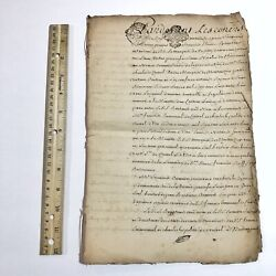 Authentic Multi-page 1600-1700's Paper French Manuscript Legal Document Old