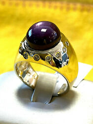14k Yellow Gold Manand039s Diamond Ring With Star Ruby Size 11.5