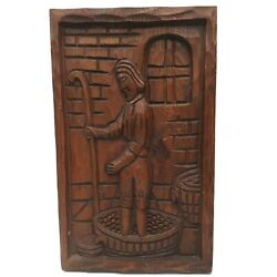 Vintage Hand Carved Wood Wall Plaque Wine Oil Making, 14 X 8.5