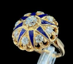 Victorian Antique 14k Gold, Old European And Mine Cut Diamond Enameled Ring Size 4