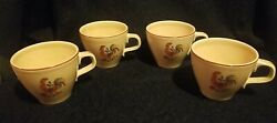 Set Of 4 Vintage Taylor Smith And Taylor Reveille Rooster Tea Coffee Cup 2 3/4 H